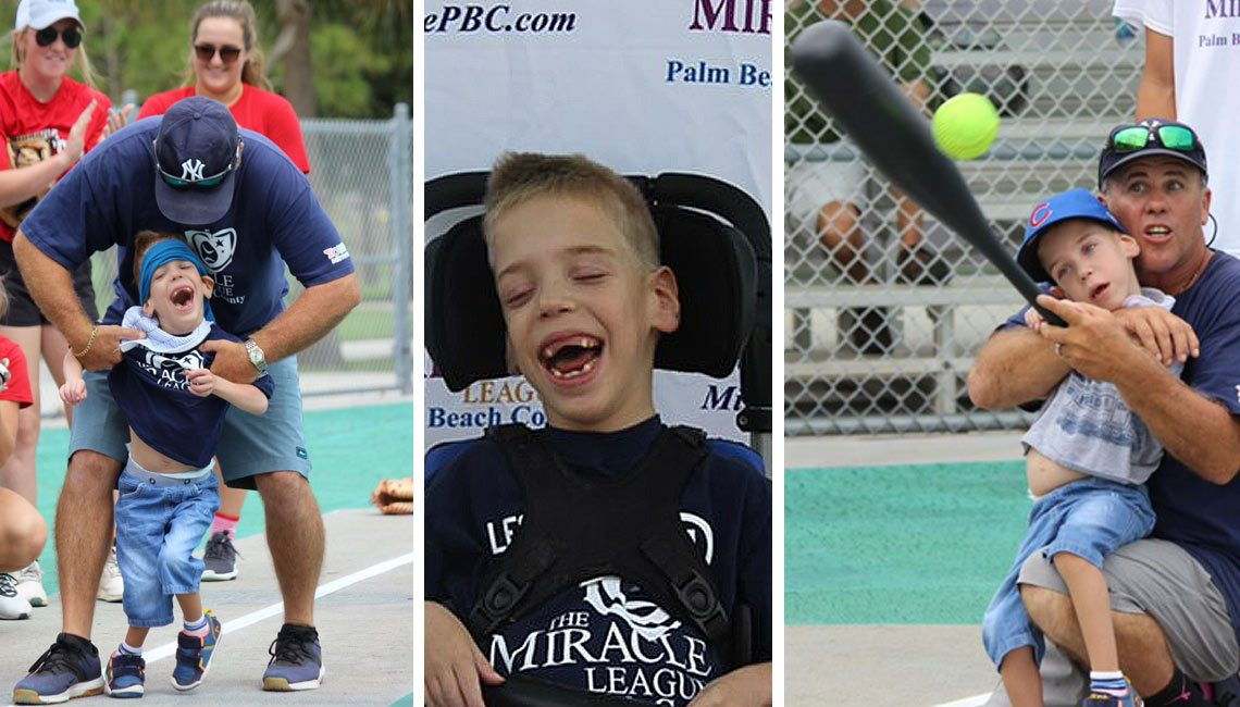 Leo Playing Baseball @ the Miracle League